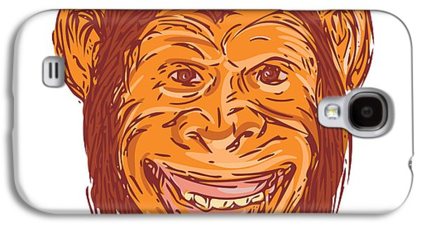 Chimpanzee Head Front Isolated Drawing Galaxy S4 Case by Aloysius Patrimonio