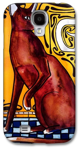 Galaxy S4 Case featuring the painting Chocolate Delight - Havana Brown Cat - Cat Art By Dora Hathazi Mendes by Dora Hathazi Mendes