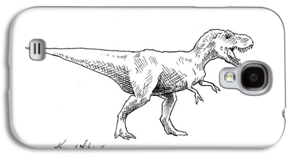 Tyrannosaurus Rex Dinosaur T-rex Ink Drawing Illustration Galaxy S4 Case by Karen Whitworth