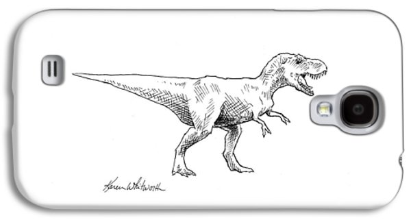 Tyrannosaurus Rex Dinosaur T-rex Ink Drawing Illustration Galaxy S4 Case