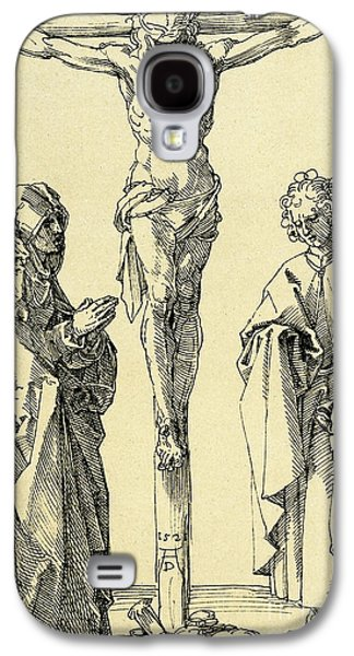 Christ On The Cross With Mary And John The Baptist Galaxy S4 Case by Albrecht Durer