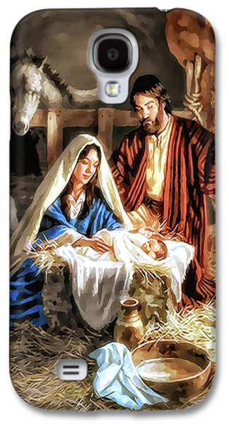 Christmas Card - Mary And Joseph Galaxy S4 Case by Pennie  McCracken