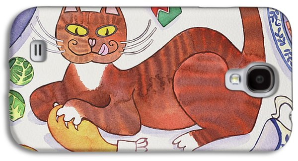 Christmas Cat And The Turkey Galaxy S4 Case