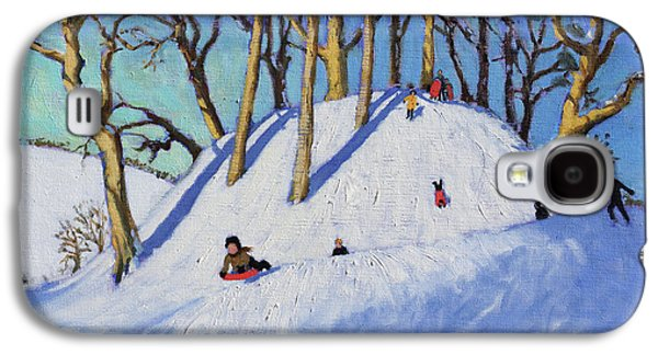 Christmas Sledging  Galaxy S4 Case by Andrew Macara