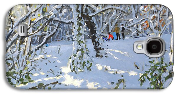 Christmas Sledging In Allestree Woods Galaxy S4 Case by Andrew Macara