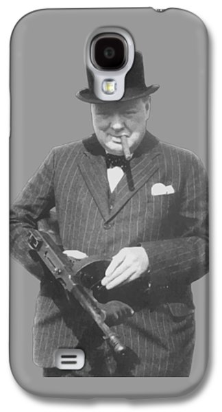 Churchill Posing With A Tommy Gun Galaxy S4 Case by War Is Hell Store