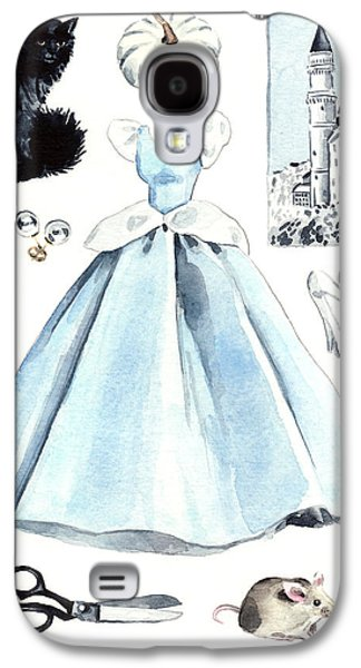 Cinderella Disney Princess Collage Castle Glass Slippers Mouse Pumpkin Cat Galaxy S4 Case by Laura Row
