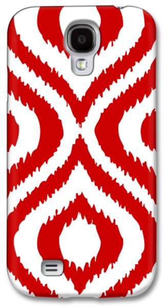 Circle And Oval Ikat In White T02-p0100 Galaxy S4 Case by Custom Home Fashions