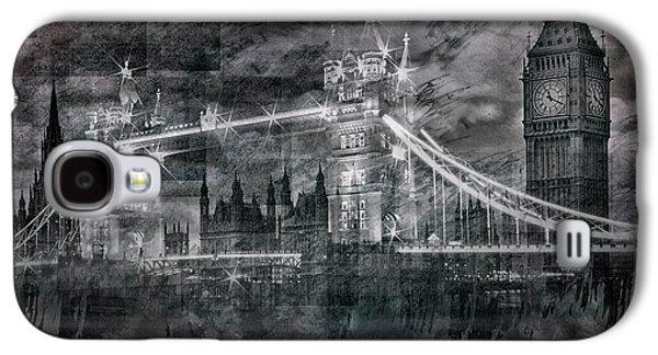City-art London Tower Bridge And Big Ben Composing Bw  Galaxy S4 Case by Melanie Viola