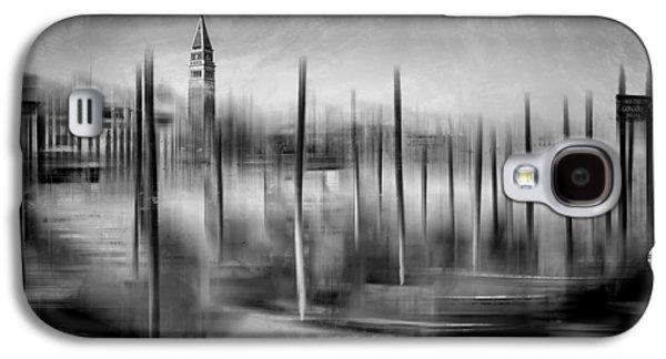 City-art Venice Grand Canal And St Mark's Campanile Monochrome Galaxy S4 Case by Melanie Viola