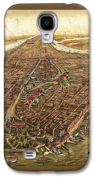 City Map New York Manhattan 1870 Deep Dream Galaxy S4 Case by Matthias Hauser
