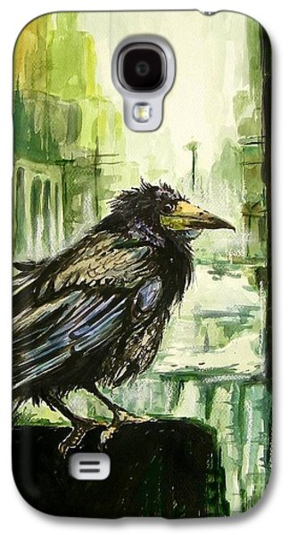 Crow Galaxy S4 Case - Cityscape With A Crow by Suzann's Art