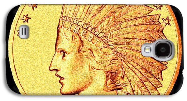 Coins Photographs Galaxy S4 Cases - Classic Indian Head Gold Galaxy S4 Case by Jim Carrell