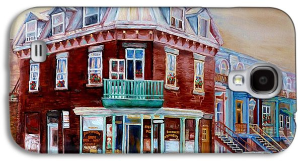 Classic Montreal Storefront Painting Peloponissos Pizza Bakery Neighborhood Memories Canadian Art  Galaxy S4 Case by Carole Spandau