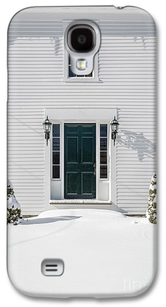 Classic New England Wood Framed Colonial Home In Winter Galaxy S4 Case by Edward Fielding
