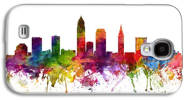 Skylines Drawings Galaxy S4 Cases - Cleveland Cityscape 06 Galaxy S4 Case by Aged Pixel