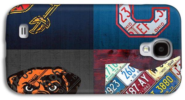 Cleveland Sports Fan Recycled Vintage Ohio License Plate Art Cavaliers Indians Browns And State Map Galaxy S4 Case by Design Turnpike