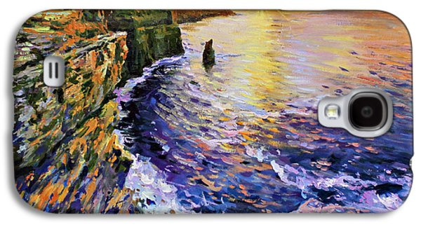 Sun Rays Paintings Galaxy S4 Cases - Cliffs of Moher at Sunset Galaxy S4 Case by Conor McGuire