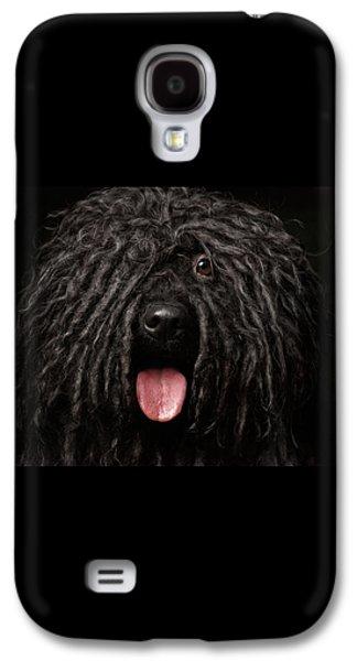 Dog Galaxy S4 Case - Close Up Portrait Of Puli Dog Isolated On Black by Sergey Taran