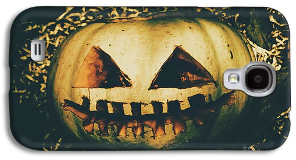 Closeup Of Halloween Pumpkin With Scary Face Galaxy S4 Case