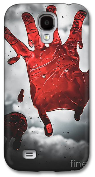 Closeup Of Scary Bloody Hand Print On Glass Galaxy S4 Case