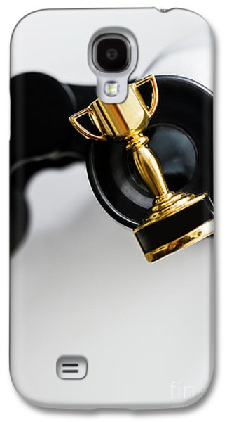 Closeup Of Small Trophy And Binoculars On White Background Galaxy S4 Case by Jorgo Photography - Wall Art Gallery