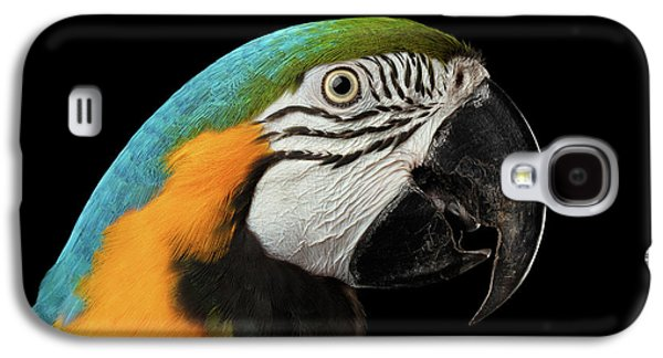 Closeup Portrait Of A Blue And Yellow Macaw Parrot Face Isolated On Black Background Galaxy S4 Case by Sergey Taran