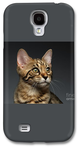 Closeup Portrait Of Bengal Male Kitty On Dark Background Galaxy S4 Case by Sergey Taran