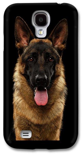 Dog Galaxy S4 Case - Closeup Portrait Of German Shepherd On Black  by Sergey Taran