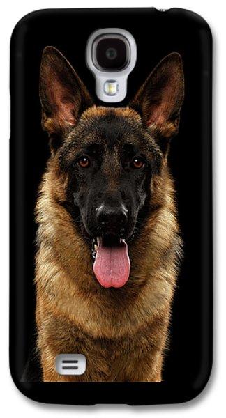 Closeup Portrait Of German Shepherd On Black  Galaxy S4 Case by Sergey Taran