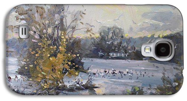 Seagull Galaxy S4 Case - Cloudy Sunset In Niagara Falls River  by Ylli Haruni