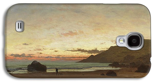 Coastal Scene With A Man And A Dog Galaxy S4 Case by Frederick William Meyer