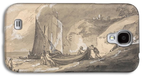 Coastal Scene With Figures And Boats  Galaxy S4 Case