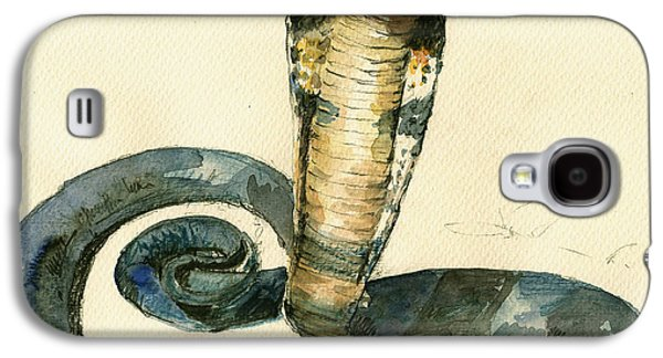 Cobra Snake Watercolor Painting Art Wall Galaxy S4 Case by Juan  Bosco