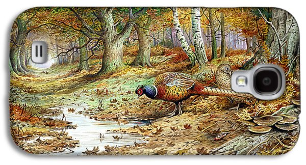 Pheasant Galaxy S4 Case - Cock Pheasant And Sulphur Tuft Fungi by Carl Donner