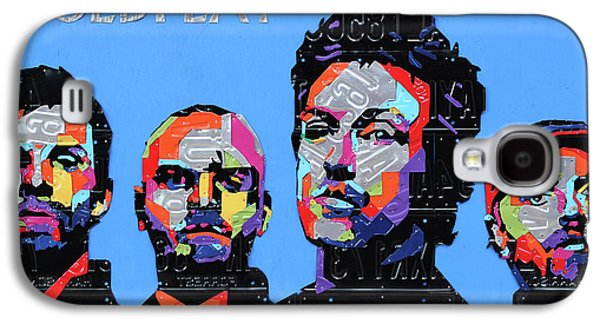 Coldplay Band Portrait Recycled License Plates Art On Blue Wood Galaxy S4 Case