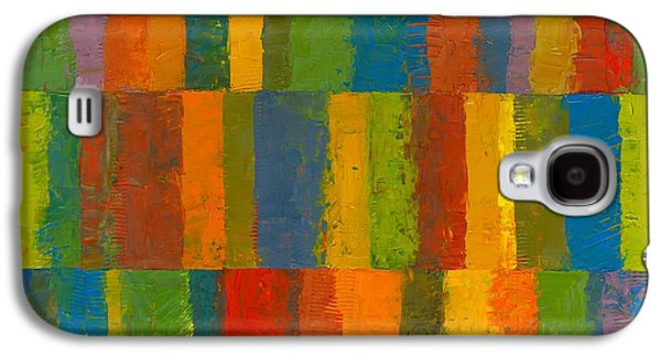 Galaxy S4 Case featuring the painting Color Collage With Stripes by Michelle Calkins