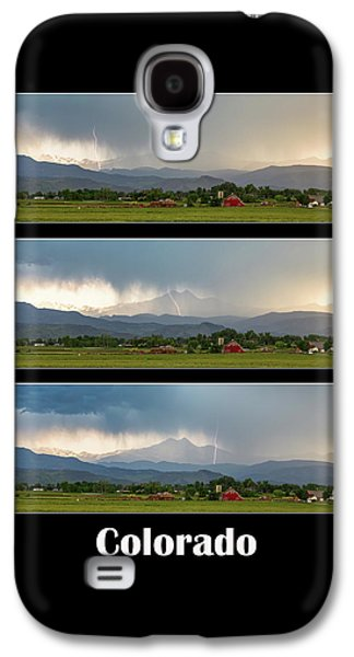 Galaxy S4 Case featuring the photograph Colorado Front Range Longs Peak Lightning And Rain Poster by James BO Insogna