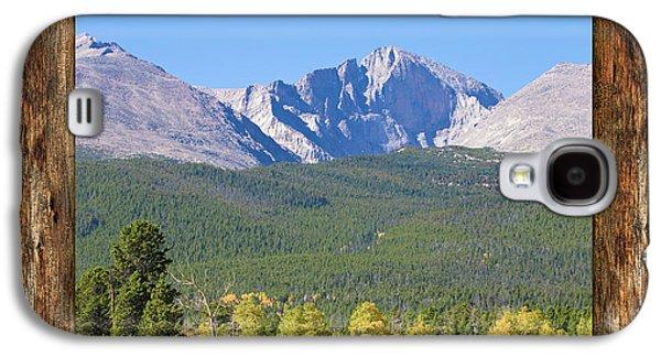 Colorado Longs Peak Rustic Wood Window View Galaxy S4 Case by James BO Insogna