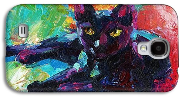 Colorful Black Cat Painting By Svetlana Galaxy S4 Case