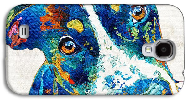 Colorful Dog Art - Happy Go Lucky - By Sharon Cummings Galaxy S4 Case by Sharon Cummings