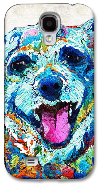 Colorful Dog Art - Smile - By Sharon Cummings Galaxy S4 Case by Sharon Cummings