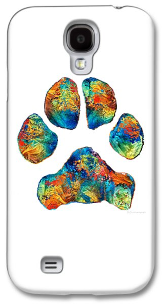 Colorful Dog Paw Print By Sharon Cummings Galaxy S4 Case by Sharon Cummings