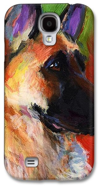 Colorful German Shepherd Painting By Galaxy S4 Case