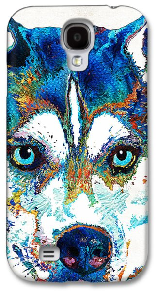 Colorful Husky Dog Art By Sharon Cummings Galaxy S4 Case by Sharon Cummings