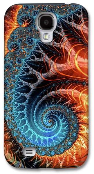 Colorful Luxe Fractal Spiral Turquoise Brown Orange Galaxy S4 Case