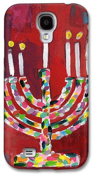 Colorful Menorah- Art By Linda Woods Galaxy S4 Case by Linda Woods
