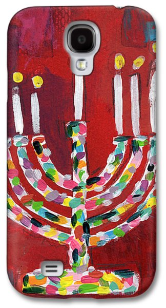 Colorful Menorah- Art By Linda Woods Galaxy S4 Case by Linda Woods
