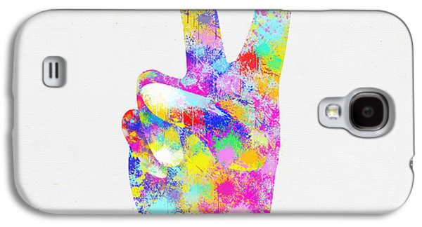 Colorful Painting Of Hand Point Two Finger Galaxy S4 Case
