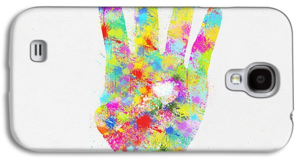 Colorful Painting Of Hand Pointing Four Finger Galaxy S4 Case
